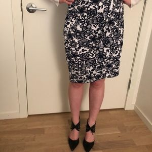 New! The Limited navy and white floral skirt